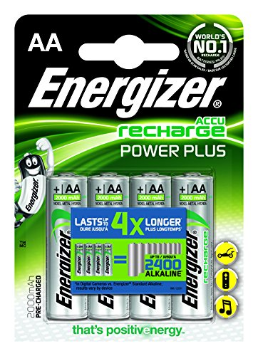 Energizer 638622 Power Plus Batteria Ricaricabile, AA, 4 Pezzi, 2000 mAh