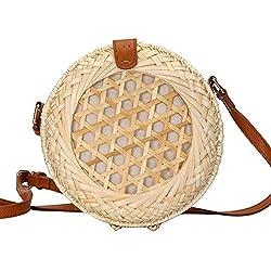 Fancylande Bolso de playa de mimbre redondo, bolso bandolera de bambú tejido a mano, de paja, para viajes, vacaciones, regalo ideal para mujer o niña, beige