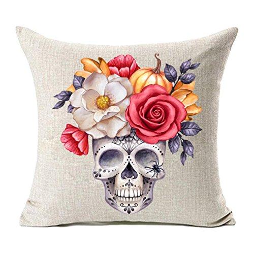 MFGNEH Halloween Totenkopf Kissenbezügen, Home Decor Baumwolle Leinen Kissenbezug Sofa Überwurf 45,7x 45,7cm 18x18 C