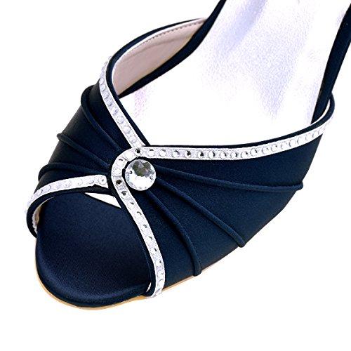 ElegantPark HP1623 Escarpins Satin Bout ouvert Diamant Talon Bas Sandales chaussures de mariee bal Bleu Marine