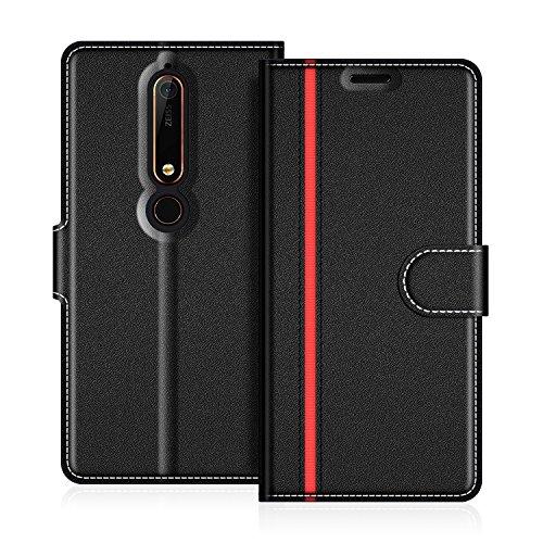 COODIO Nokia 6 2018 Hülle Leder, Nokia 6.1 Lederhülle Ledertasche Wallet Handyhülle Tasche Schutzhülle mit Magnetverschluss/Kartenfächer für Nokia 6.1 / Nokia 6 2018, Schwarz/Rot