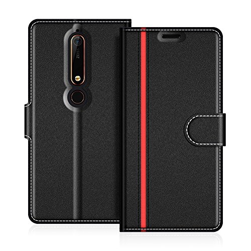 COODIO Custodia in Pelle Nokia 6 2018, Custodia Nokia 6.1, Custodia Portafoglio Cover Porta Carte Chiusura Magnetica per Nokia 6.1 / Nokia 6 2018, Nero/Rosso