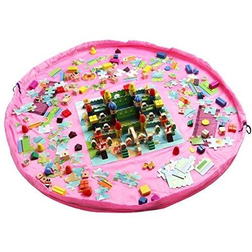 Preisvergleich Produktbild Spielzeug-Speicher, Homecube Baby-Kind-Boden-Spiel-Matte Lego Spielzeug-Speicher-Beutel-Spielzeug-Organizer Kid Activity Mat Umhängetasche-60-Zoll-Durchmesser (Pink)