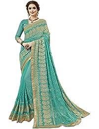 Aagaman Fashions Georgette Verde Ropa festiva Bordado Tradicional Sari