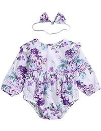 b8f00010d8d8 Chennie 2 Pezzi Baby Girls Floral Pagliaccetto Manica Lunga Tuta Fascia  Abiti Vestiti Set
