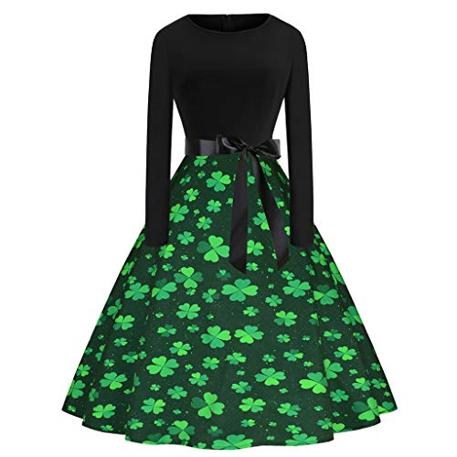 ODRD-St. Patrick's Day Damen Shamrock Abend Print Party Prom Swing ()