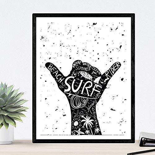 Nacnic Lámina enmarcar Lets Surf Poster Imagen surfera