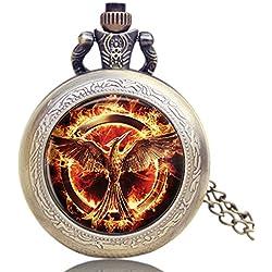 """THE HUNGER GAMES Fiery Phoenix Antique Bronze Effect Retro/Vintage Case Men's Quartz Pocket Watch Necklace - On 32"""" Inch / 80cm Chain"""
