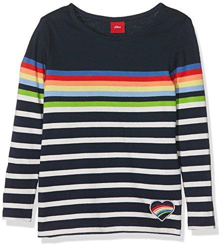 s.Oliver Mädchen Langarmshirt T-Shirt Langarm, Blau (Glockenblume Stripes 58g0), 128 (Herstellergröße: 128/134)