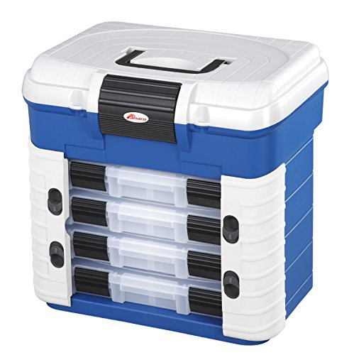 Preisvergleich Produktbild Angelkoffer mit ergonomischen Sitz, Der Kasten beinhaltet vier Sortierboxen für Kleinteile mit verstellbaren Unterteilungen