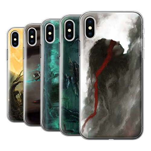 Offiziell Chris Cold Hülle / Gel TPU Case für Apple iPhone X/10 / Rotes Band-Engel Muster / Unterwelt Kollektion Pack 5pcs