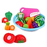 #10: Realistic Sliceable Fruit and Vegetable Cutting Play Toy Set in Beaut-Full Basket, Can Be Cut in 2 Parts 9 Fruits and Vegetable, 1 Basket, 1 Knife and Board