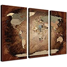 LanaKK Mapamundi - Mapa del mundo intensivo, inglés, lámina sobre bastidor camilla en marrón, enmarcado en tres partes de 150 x 100 cm