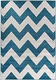 Teppich Geometrische Muster Streifen blau weiß Wohnzimmer Jugendzimmer Kinderzimmer Junge weich (160 x 230 cm)
