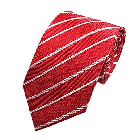 Z-P Mens Red Stripe Luxury Elegant Necktie Knit Woven Jacquard Skinny Tie