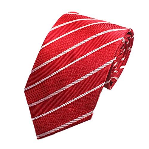 Z-P Mens Red Stripe Luxury Elegant Necktie Knit Woven Jacquard Skinny Tie (Bar Stripe Shirt)