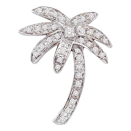 (14K Weiß Gold Diamant Rund Palme Nautical Strand Anhänger (1/4cttw)