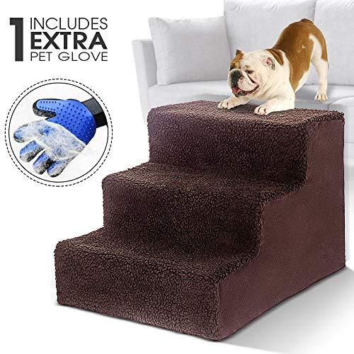Masthome Hundetreppe mit Haustierhandschuh 3 Stufen Haustierbett Leiter für Hunde und Katzen bis zu 22,6 kg -