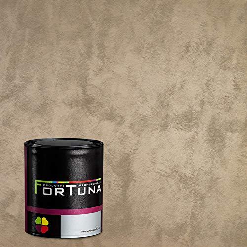 Nerk Fortuna Velluto Effektfarbe - Farbe Graubeige, hochwertige Effekt-Wandfarbe zur Wand-Gestaltung mit italienischer Note, Farben Komplett-Set mit Innenfarbe, Dekofarbe und Malerzubehör