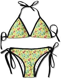 Moda para Mujer Divertida Fiesta de Dinosaurios Impresión Sexy Bikini de Dos Piezas Conjunto Traje de