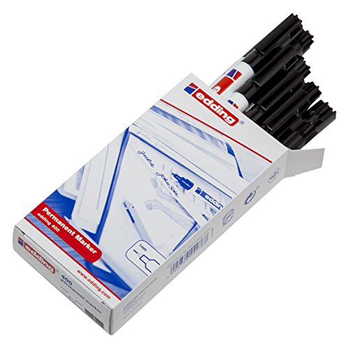 Edding 400 400-001 Permanentmarker aus Faser, schnelltrocknend, Rundspitze, 1,0 mm Strichbreite, Schwarz, 10 Stück