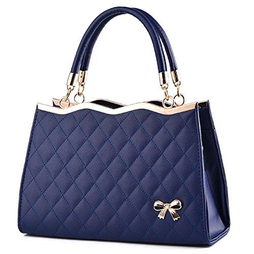 BYD - Pell Donna Mini forma di diamante Tote Bag Handbag Borsa decorazione con fiocchi