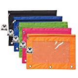 Zippered Binder Pencil Pouch with Rivet Enforced Hole 3 Ring Pencil Case 5 Pack