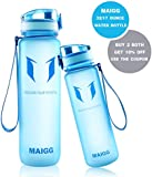 MAIGG Best Sports Water Bottle - 17oz & 32oz - Eco Friendly & BPA-Free Plastic - For Running, Gym, Yoga, Outdoors and Camping - Fast Water Flow, Flip Top, Opens With 1-Click - Reusable with Leak-proof Lid