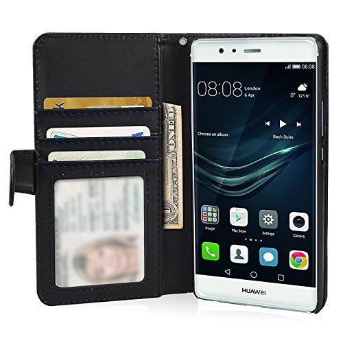 Huawei P9 Hülle Brieftasche mit Standfunktion Kartenfächer, Flycool Ledertasche für Huawei P9