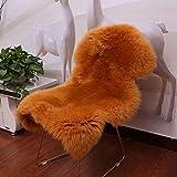 Pecora Tappeto 7-8cm Lunga Pelliccia Morbida Tappeto in Pelliccia di Agnello per Divani E Sedie,Camel-25.6×35Inch(65×90cm)