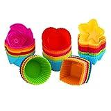 KYG 60er wiederverwendbare Muffinformen Backförmchen Cupcake Backformen aus hochwertigem Silikon 5 Formen mit 6 Farben