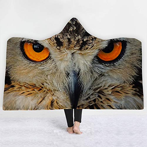 Sherpa Baumwolle Hut (Encounter G Owl-Serie Mit Kapuze Decke 3D Magie Mantel Kinder Decke Sofa Decke Trägt Hut Decke Sherpa Tragbare Samtdecke Reisedecke,Owl4,150 * 130cm)