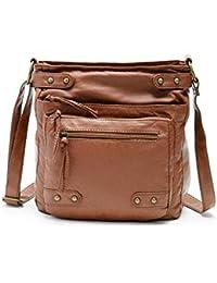 FanCarry Washed Soft Leather Crossbody Purse Multi Pocket Shoulder Satchel Bags For Women (Tan)