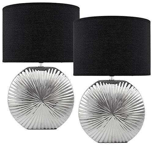 Lámparas de sobremesa o de mesita de noche BRUBAKER con pantalla negra y una elegante base de cerámica en plata cromada, 47 cm  de altura