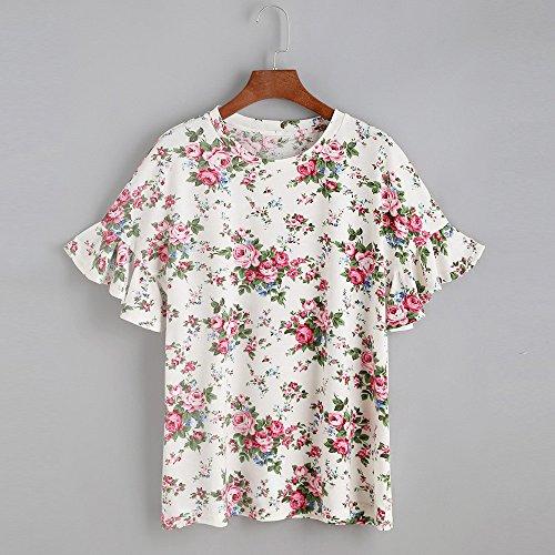 Longra Donna 2017 Colletto rotondo estate stampato maglietta manica corta Bianca