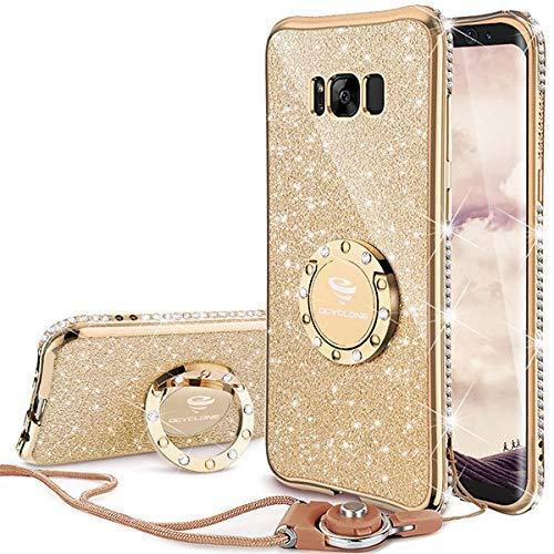 Samsung Galaxy S8 Hülle Frauen, Gold Glitzer S8 Handyhülle Frauen Mädchen 360 Grad Ständer und Trageband Strass Schutzhülle Diamant Süße Kristall Funkeln Bling Glitzer Hülle für Samsung Galaxy S8