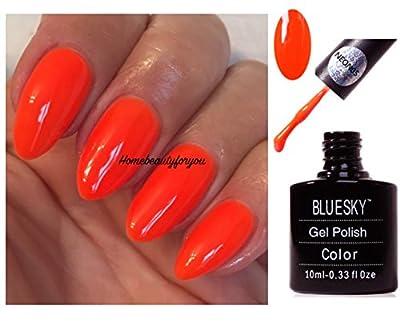 Bluesky Neon 5 Bright Orange Nail Gel Polish UV LED Soak Off 10ml PLUS 2 Luvlinail Shine Wipes