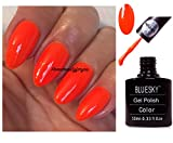 BLUESKY Neon 5 Bright Orange Nagellack-Gel UV LED Soak Off 10 ml plus 2 LuvliNail Shine Tücher