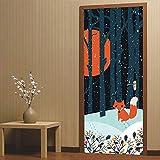 Amphia - Fox in The Fairy Forest Kreative 3D Türaufkleber Personalisierte Holztür Hauptdekoration Wandaufkleber Papier.Türaufkleber dekorative Malerei SchlafzimmerWohnzimmer