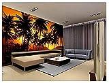 Personnalisé 3D Mur Papier Peint Tv Fond Crépuscule Paysage Marin Photo 3D Arbre Photo Décoration Papier Peint 3D Faux Cuir Vinyle Mural-300cm×210cm