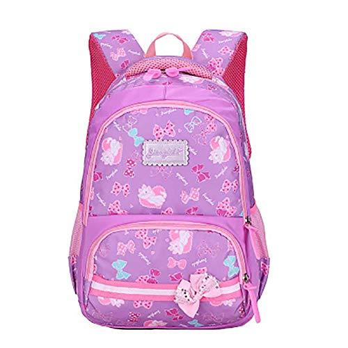 Zentto Kinderrucksack Bow Babyrucksack Kindergartentasche mit Breiten und Verstellbaren Trägern Cartoon Entwickelt Kinderrucksack für Jungen und Mädchen Rucksack für Kinder (Hell Lila) -