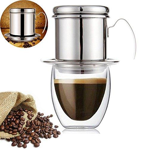 Mehrwegfilter Kaffeefilter Vietnamesisch Kaffee Filter Kaffee-Tropf-Filterschalen Edelstahl...