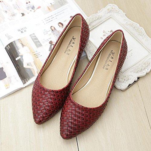 &qq Chaussures plates pointues, plates avec des chaussures de bateau, chaussures de grande taille de mode 41