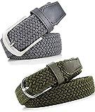 Pegaso Women's Elastic Stretchable Sleek Belt (Black and Almond, Free Size) - Pack of 2