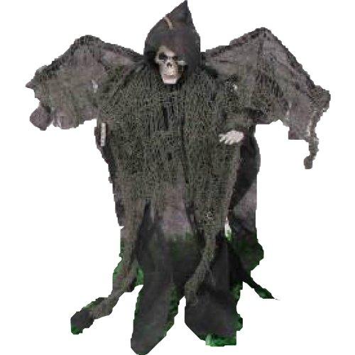 (1A Halloween Deko-Figur, Deko-Geist mit Flügeln, Deko-Figur Sensenmann am Stab mit Flügeln 51 cm)