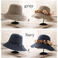 ChengFeiShop Sombrero de Paja Hembra Verano Pequeño Pescador Fresco Sombrero Sol Salvaje Playa Sombrero Hembra Verano Playa sombrilla Protector Solar (Color : Gray)