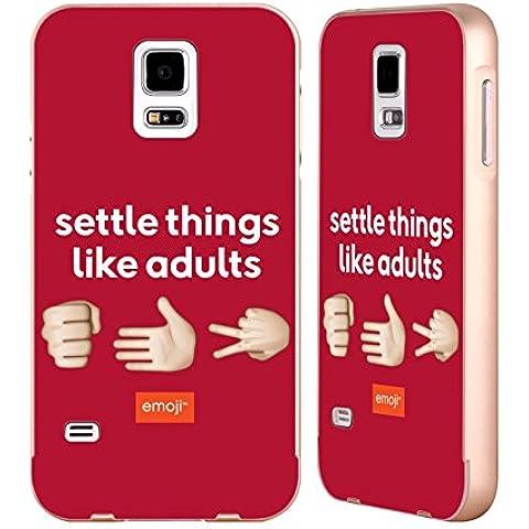 Ufficiale Emoji Sasso Carta Forbice Parlare Oro Cover Contorno con Bumper in Alluminio per Samsung Galaxy S5 / S5 Neo - Oro Forbici