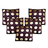 Dream Weaverz Beautiful Cushion Covers Set of 5 - Premium Quality Velvet and Leather Cushion Cases - Brown colored Cushion Covers