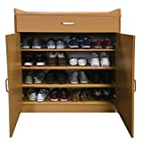 Redstone Beech Shoe Storage Cabinet Rack Cupboard - 4 Shelves + 1 Drawer - Wooden Sideboard