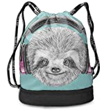 HLKPE Sloth Portrait with Headphones Fitness Drawstring Bag Backpack Bundle Backpack